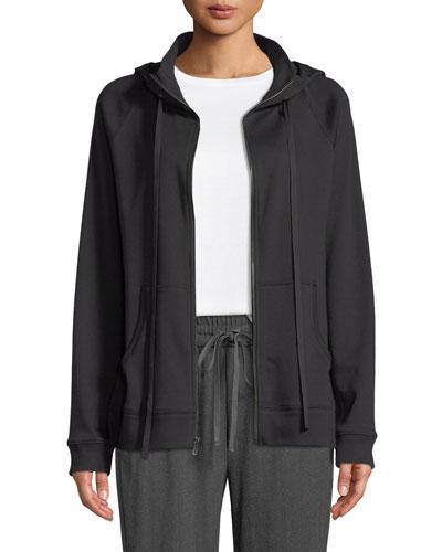 Hooded Cotton-Interlock Zip-Front Jacket