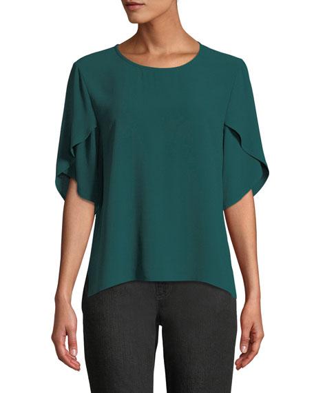 Tulip-Sleeve Silk Georgette Top, Plus Size, Pine