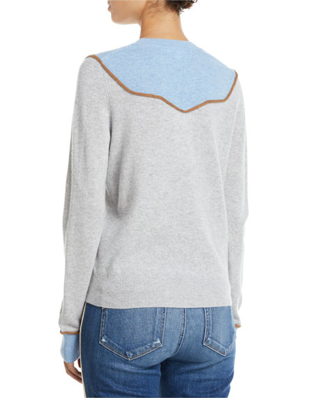 Atty Crewneck Colorblock Cashmere Pullover Sweater