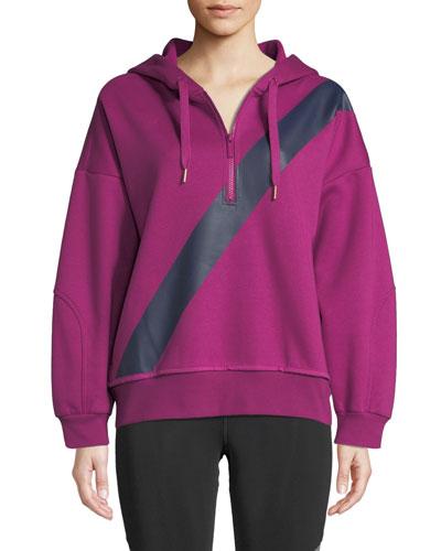 Yoga Comfort Striped Quarter-Zip Hoodie