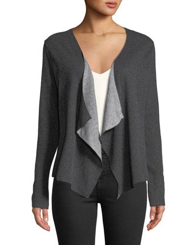 Draped Cotton-Cashmere Open-Front Cardigan