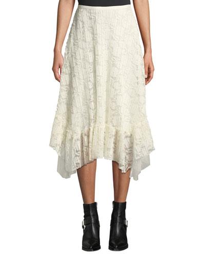 Ruffled Lace Asymmetrical Midi Skirt