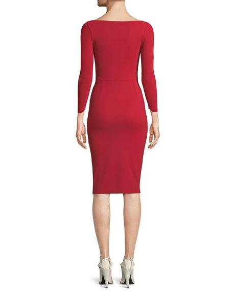 Iza Mock-Wrap Dress w/ Slit Skirt