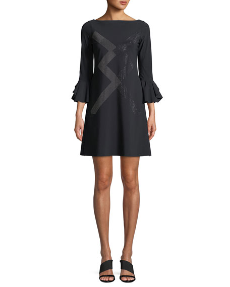 Ornabis Natalia Geometric Mini Dress w/ Trumpet Sleeves