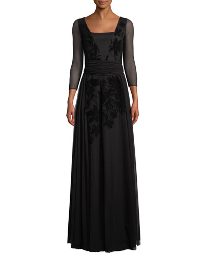 Elise Illusion-Sleeve Gown w/ Velvet Embroidery