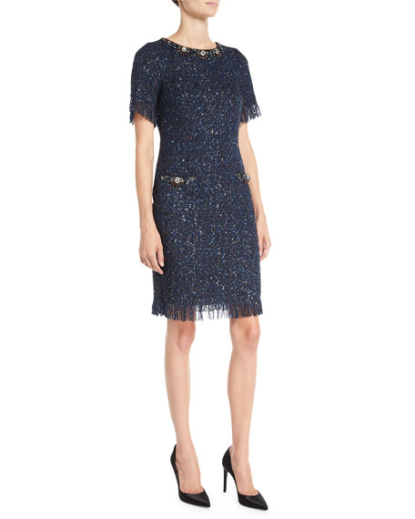 Rickie Freeman for Teri Jon Metallic Tweed Dress