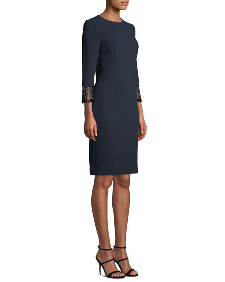 Jacquard Dress w/ Beaded Fringe Cuffs