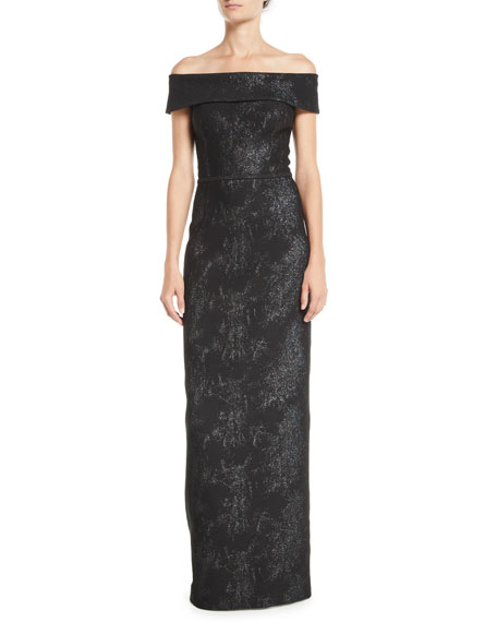 RICKIE FREEMAN FOR TERI JON OFF-THE-SHOULDER JACQUARD COLUMN GOWN