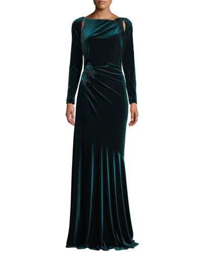 Long-Sleeve Velvet Draped Bow Gown