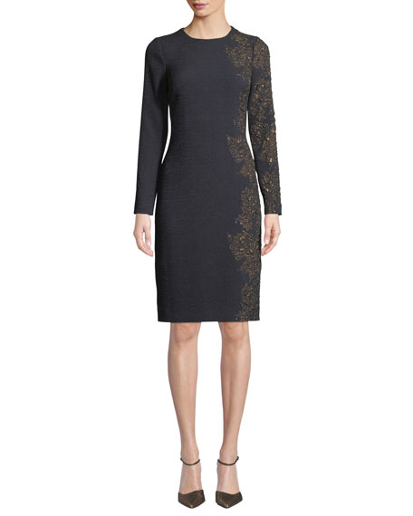 Rickie Freeman for Teri Jon Stretch-Knit Jacquard Sheath
