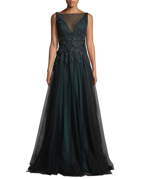 Rickie Freeman for Teri Jon Sleeveless Tulle Gown w/ 3D Flower Embroidery