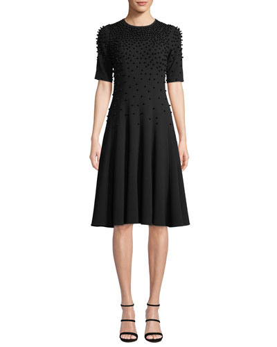 Fit-and-Flare Crepe Wool Dress w/ Pearly Beading
