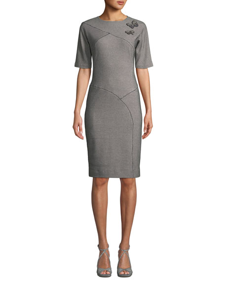Jersey Knit Sheath Dress w/ Butterflies