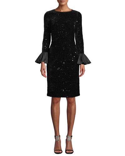 Velvet Confetti Sequin Bell-Sleeve Dress