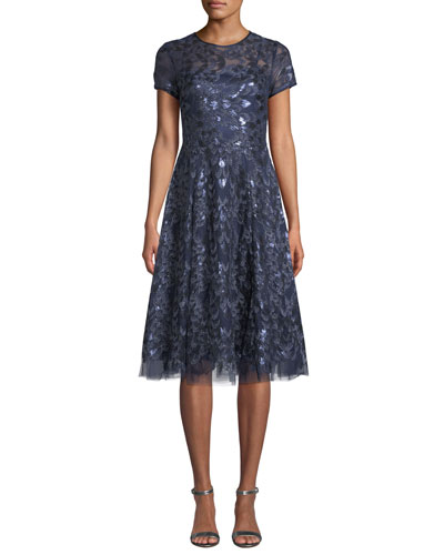 Sequin Tulle Short-Sleeve A-Line Dress