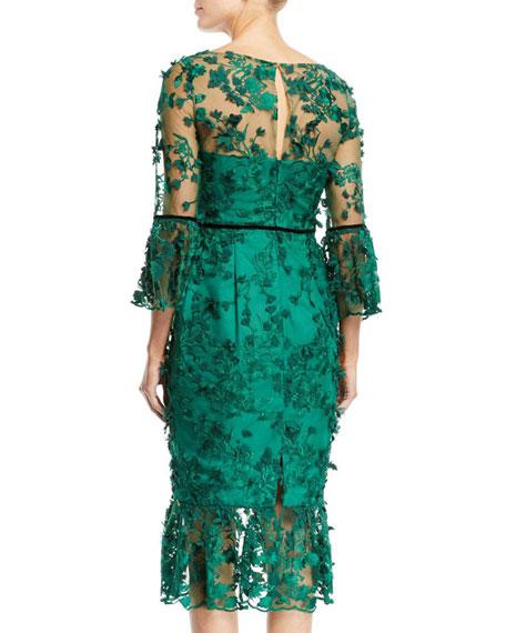 Bell-Sleeve Embroidered 3D Flower Dress