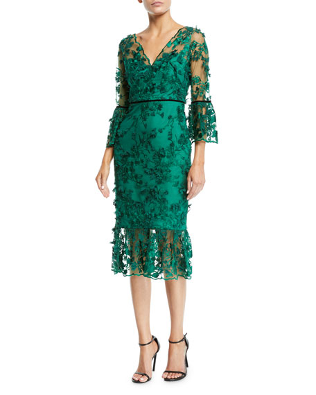 Bell-Sleeve Embroidered 3D Flower Dress, Emerald