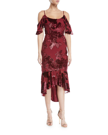Marchesa Notte Cold-Shoulder Velvet Burnout Cocktail Dress with