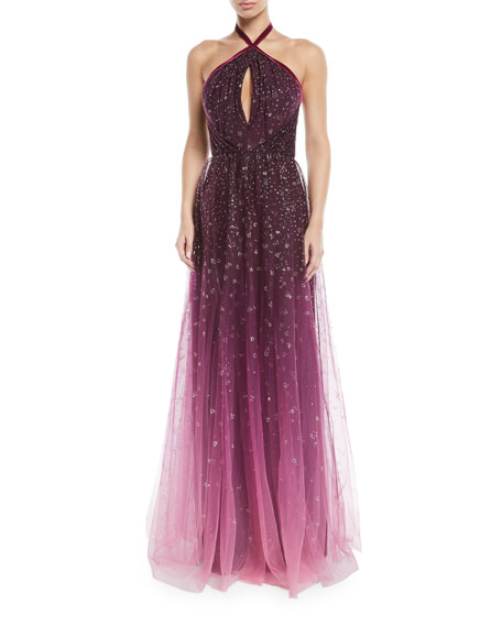 Ombre Glitter Tulle Halter Gown