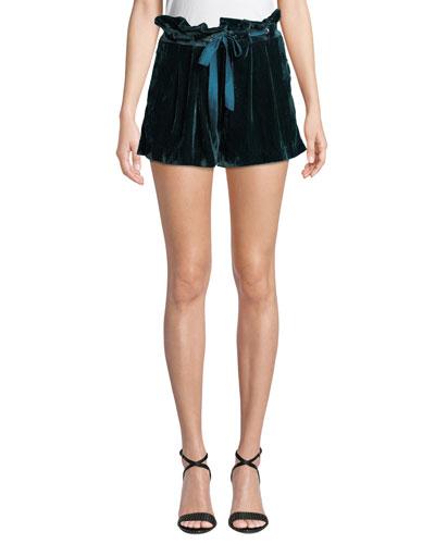 Vale Velvet High-Rise Belted Shorts