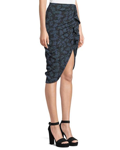 Hazel Desert Fern Side-Ruched Silk Ruffle Skirt