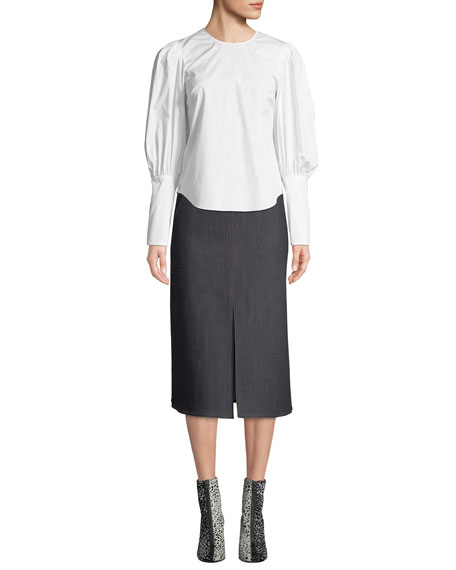 Leith High-Waist Denim Midi Skirt