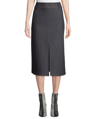 Leith High-Waist Denim Midi Skirt