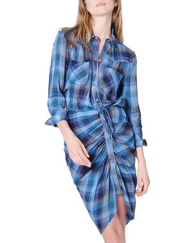 Sierra Gathered Plaid Button-Front Shirtdress
