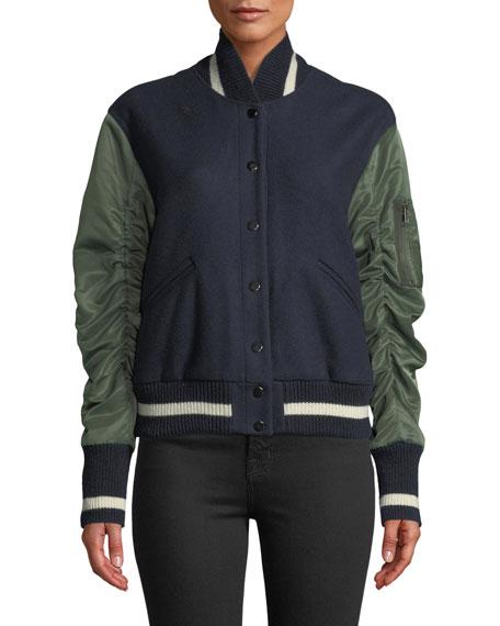 Joanie Gathered-Sleeve Snap-Front Varsity Jacket
