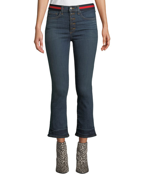 Carolyn Cropped Baby Boot-Cut Jeans With Tuxedo Stripes in Blue Tidal