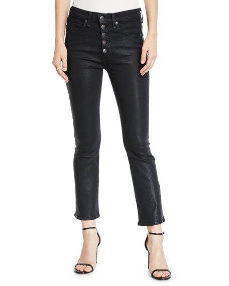 """Carolyn 10"""" Rise Coated Kick Flare Jeans With Button Fly in Green"""