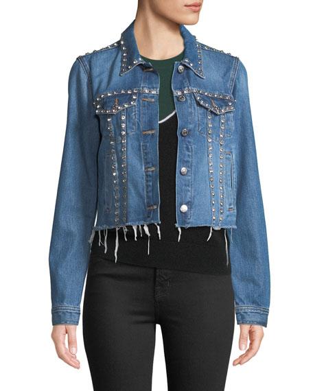 Cara Cropped Jean Jacket With Rhinestones, Blue