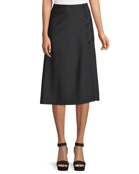 Verna Lace-Up Midi Skirt in Black