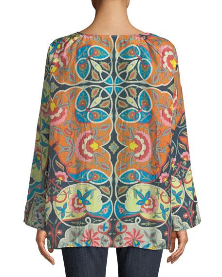 Lentine Silk Printed Georgette Tunic, Plus Size