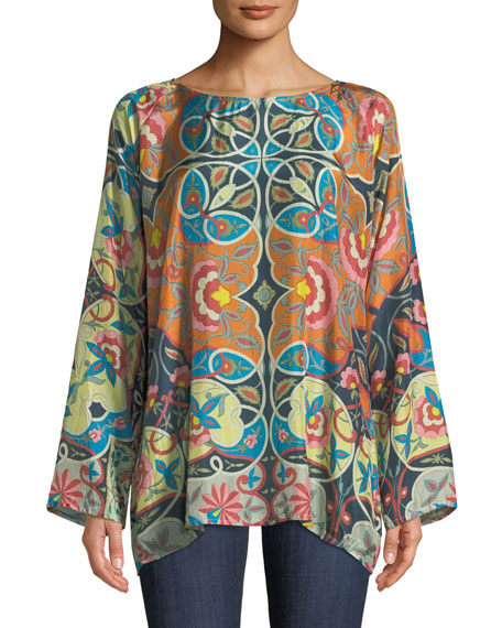 Johnny Was Lentine Silk Printed Georgette Tunic, Plus