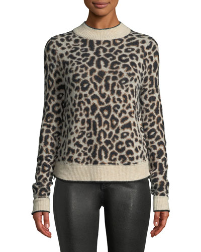Marly Leopard-Print Crewneck Pullover Sweater