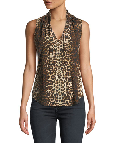 Bertrand Leopard-Print Sleeveless Blouse