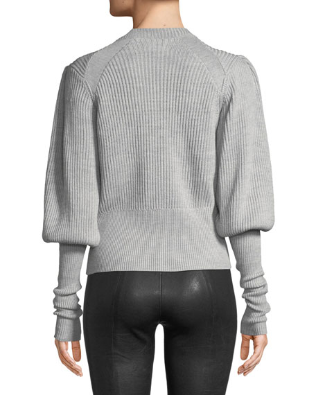 Jude Jeweled Crewneck Blouson-Sleeve Wool Knit Sweater