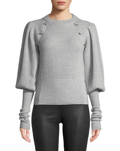 Jude Jeweled Crewneck Blouson-Sleeve Wool Knit Sweater