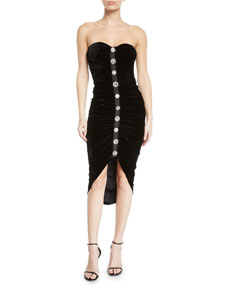Veronica Beard Palo Strapless Ruched Velvet Button Front Cocktail Dress by Veronica Beard