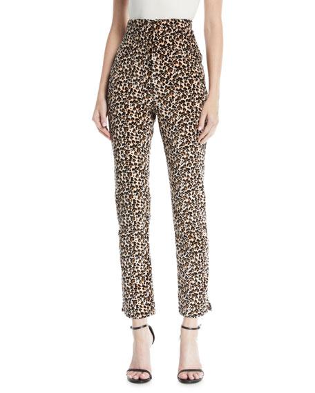 Leopard-Print Velvet High-Waist Skinny Ankle Pants