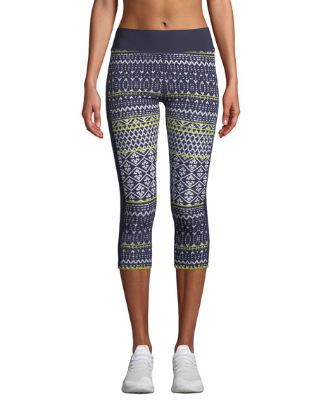 Ikat Neon Matte Nyc Cropped Leggings in Blue