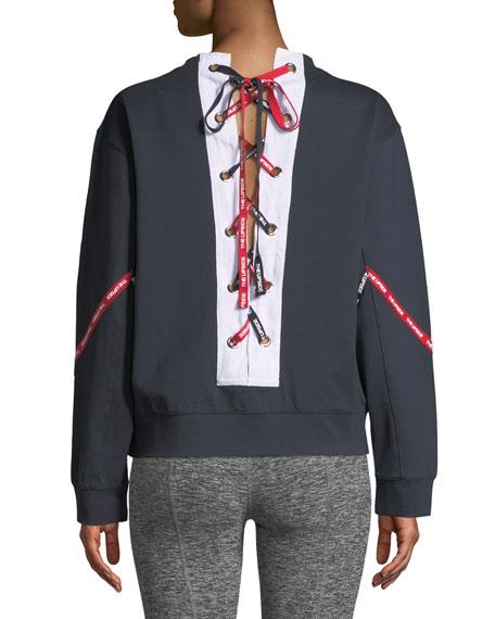 Lace-Up Logo Crewneck Sweatshirt