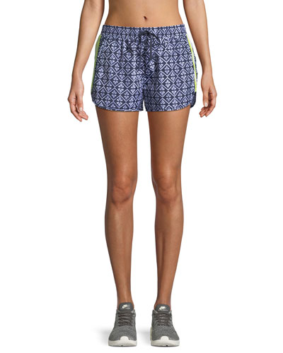 Drawstring Ikat-Print Neon Side-Stripe Shorts