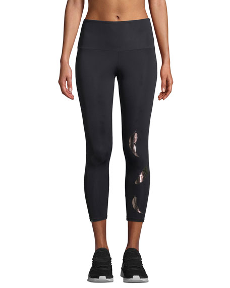 ONZIE HIGH-RISE FOIL FEATHER MIDI YOGA LEGGINGS