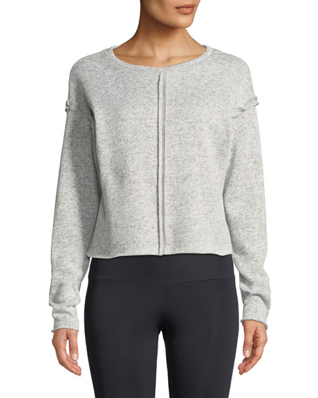 ONZIE Raw-Seam Crewneck Sweatshirt in Gray