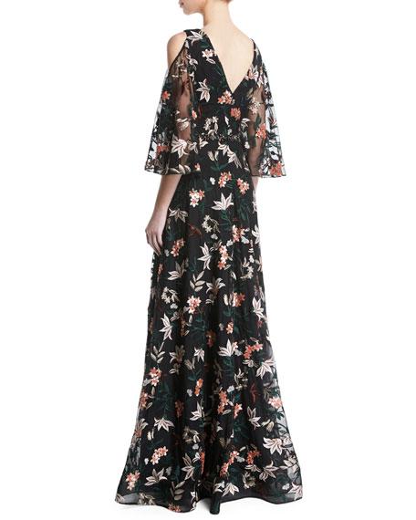 Floral Gown w/ Cold Shoulder & Embellished Waist