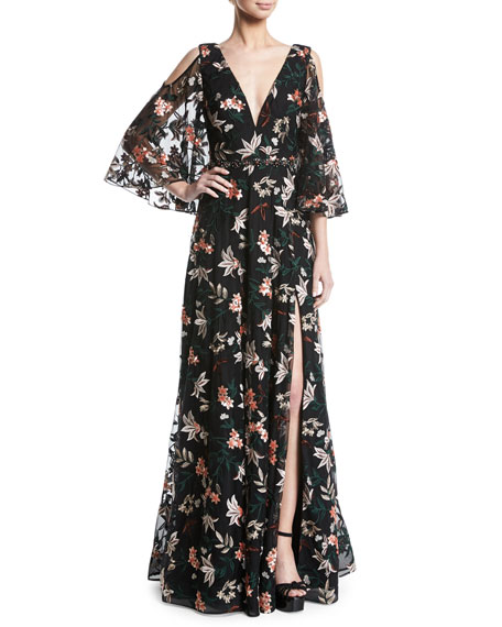Jovani Floral Gown w/ Cold Shoulder & Embellished