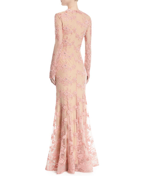 Long-Sleeve Lace Gown w/ Slit Front