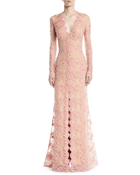 Jovani Long-Sleeve Lace Gown w/ Slit Front
